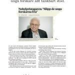 SSMF håller med nobelpristagare Tomas Lindahl om att det är viktigt att stödja unga forskare. Annons i DN 20151212