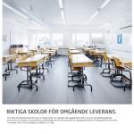 Parmaco erbjuder direktleverans och uthyrning av skollokaler. Här en annons från Skolledaren  nr 8 ,2016