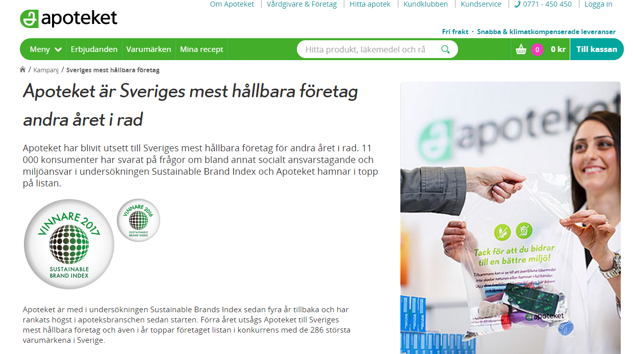 Apoteket - Sveriges mest hållbara varumärke 2017, enligt Sustainable Brand Index