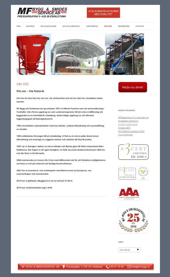 MF Bygg & Smidesservice nya hemsida 2017