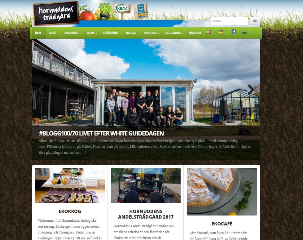 Hornuddens Ekocafé - Årets Hållbara Café för andra året i rad, enligt White Guide. Bild: Hornuddens trädgårds webbplats, hornudden.net.