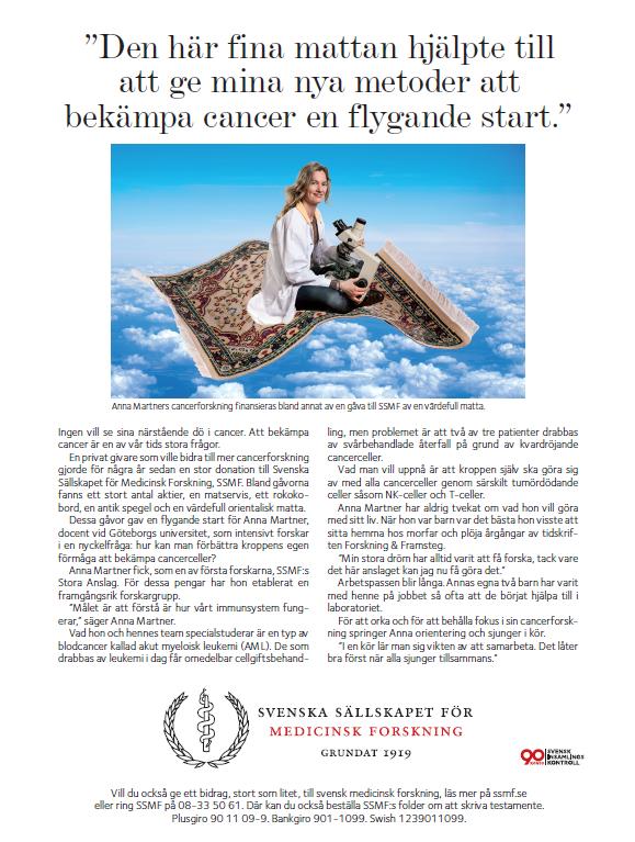 En värdefull matta hjälpte till att ge docenten och forskaren Anna Martners cancerforskning en flygande start.