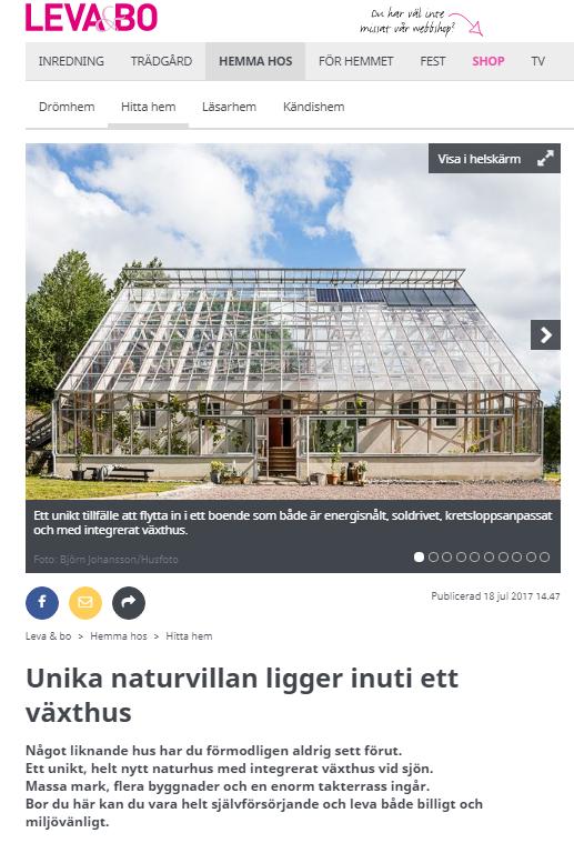 Artikel om det unika huset med närodlat vid knuten i Leva och Bo, Expressen.se
