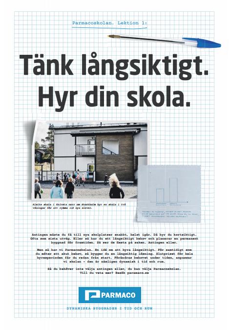Parmacoskolan - en möjlighet för svenska skolor. Helsidesannons i Dagens Samhälle nr 33,  utformad av Öppet.
