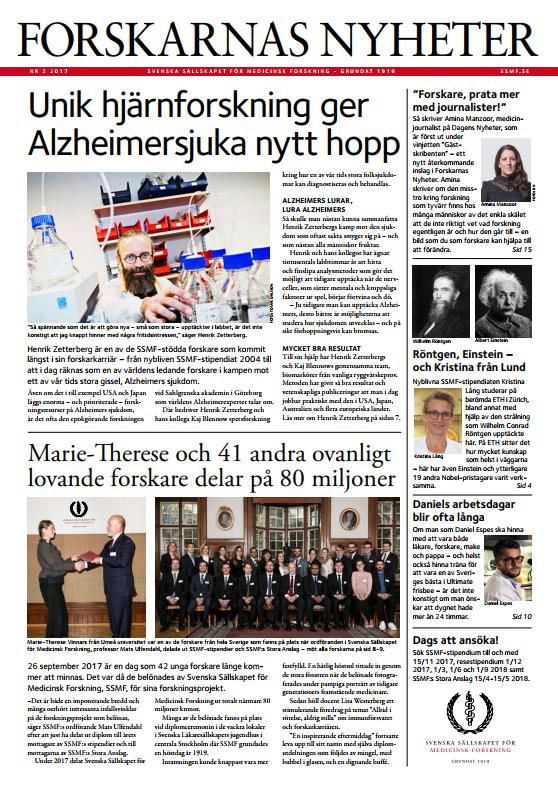 Forskarnas Nyheter nr 2 2017,  en nyhetstidning om  forskningens framsteg som ges ut av Svenska Sällskapet för Medicinsk Forskning, SSMF