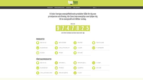 På toptensverige.se listar Naturskyddsföreningen de energisnålaste produkterna