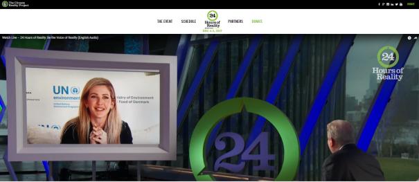 Al Gore, grundare av The Climate Reality Project, intervjuar Ellie Goulding, 24 Hours of Reality, 4-5 december 2017