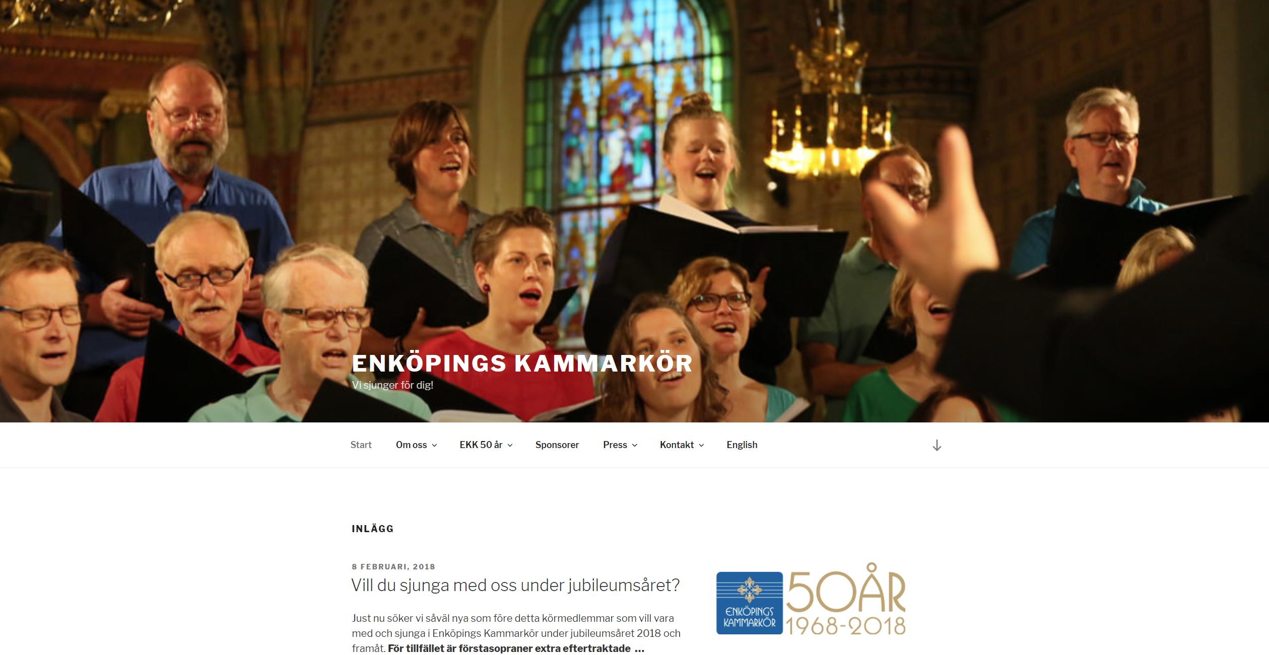 Enköpings Kammarkör - nytt uppdrag. Ny användarvänlig och mobilanpassad hemsida. Kören firar 50 år med fyra jubileumskonserter.
