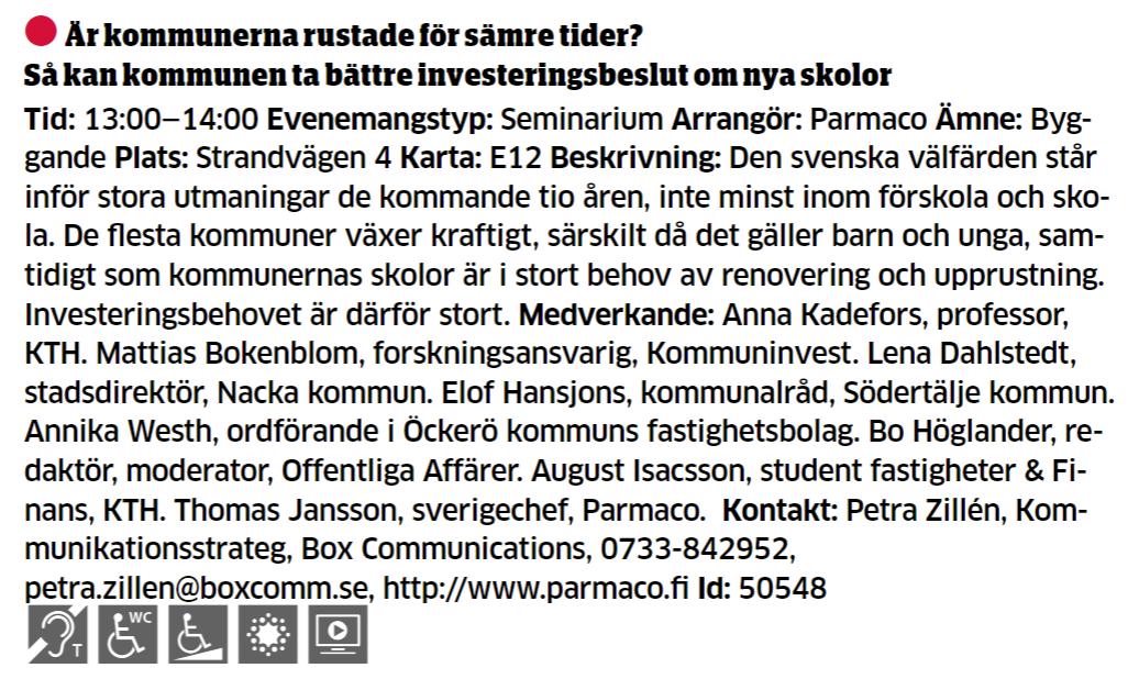 Parmaco arrangerar seminarium i Almedalen 2018