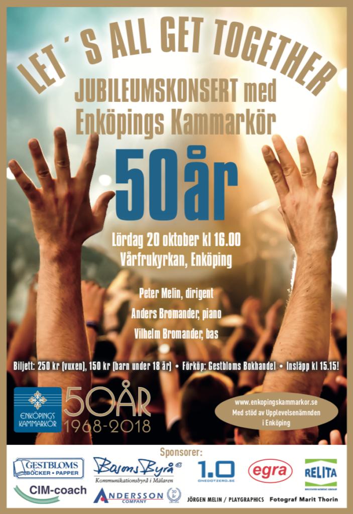 Jubileumskonsert med Enköpings Kammarkör. Affisch för galakonserten som äger rum i Vårfrukyrkan i Enköping, lördagen den 20 oktober.