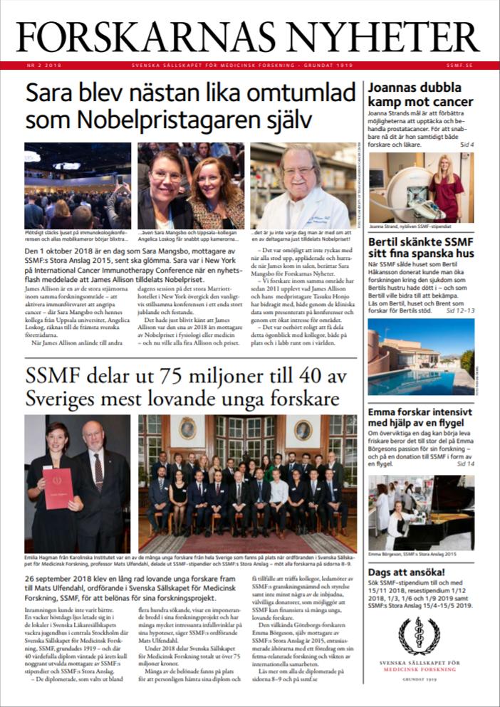 Läs om forskning i framkant i Forskarnas Nyheter nr 2, 2018. Tidningen ges ut av SSMF. Bild: ssmf.se