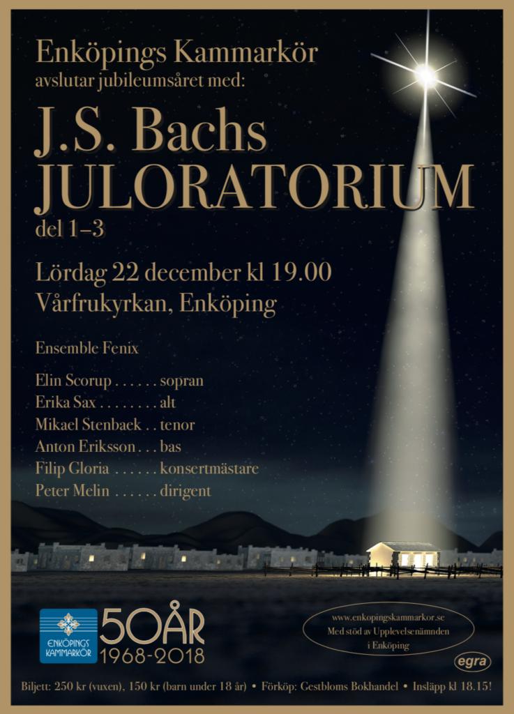 Bachkonsert med Enköpings Kammarkör avslutar jubileumsåret. I Vårfrukyrkan i Enköping den 22 december 2018