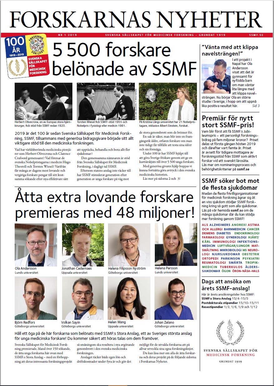 Läs om medicinsk forskning i framkant i Forskarnas Nyheter nr 1, 2019, som ges ut av SSMF. Bild: ssmf.se