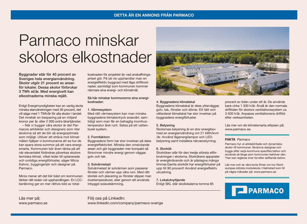 Parmaco erbjuder energismarta skolor som minskar elkostnaderna. Bild: Annons från DI den 2 juli 2019.