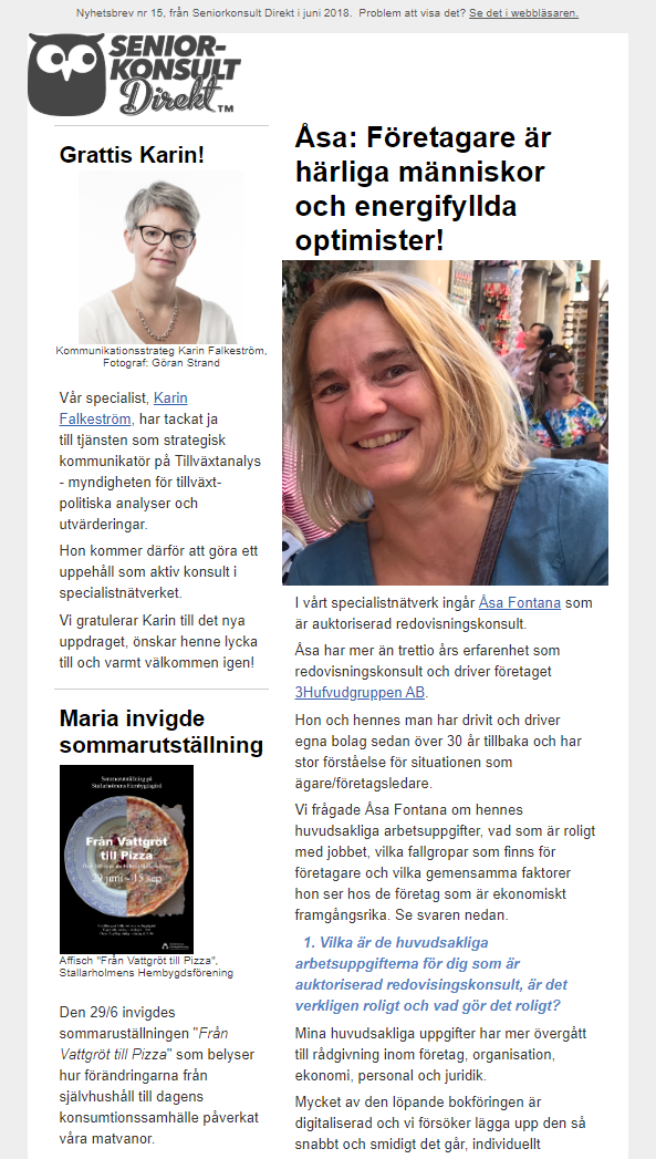 Seniorkonsult Direkt Nyhetsbrev nr 15, 2019, där auktoriserad redovisningskonsult Åsa Fontana intervjuas.