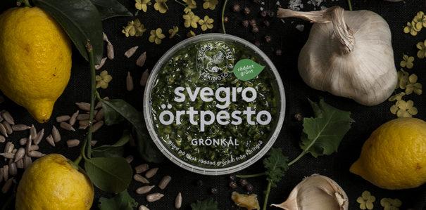 Svegro Örtpesto. Finns i smarkerna grönkål, basilika och koriander. Bild: Svegros hemsida