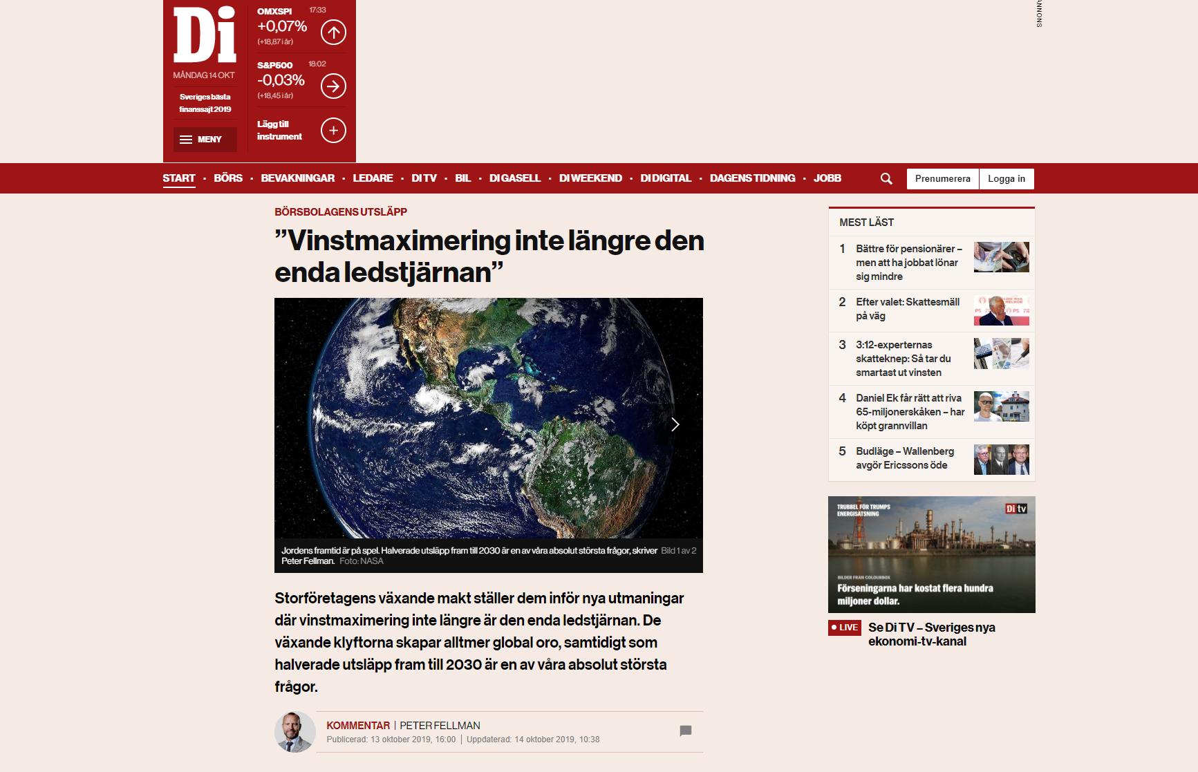 DI är första affärstidningen i världen med att redovisa utsläppssiffror på börssidorna.