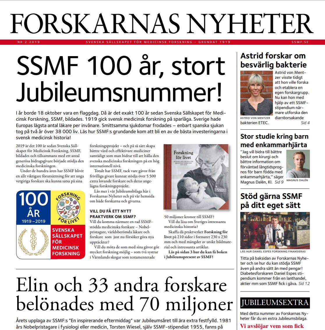 Forskarnas Nyheter nr 2, 2019, utgiven av SSMF - läs om medicinsk forskning i framkant. Bild: ssmf.se