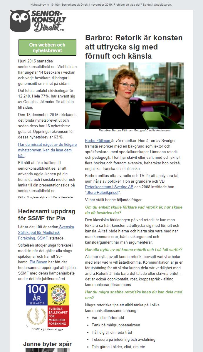 Seniorkonsult Direkt Nyhetsbrev nr 16, 2019, där en av Seniorkonsult Direkts specialister, Barbro Fällman, intervjuas.