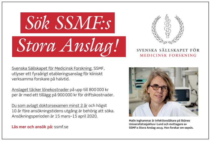 SSMF:s Stora Anslag 2020 - etableringsstöd till yngre forskare. Annons i Läkartidningen nr 9-10 2020.