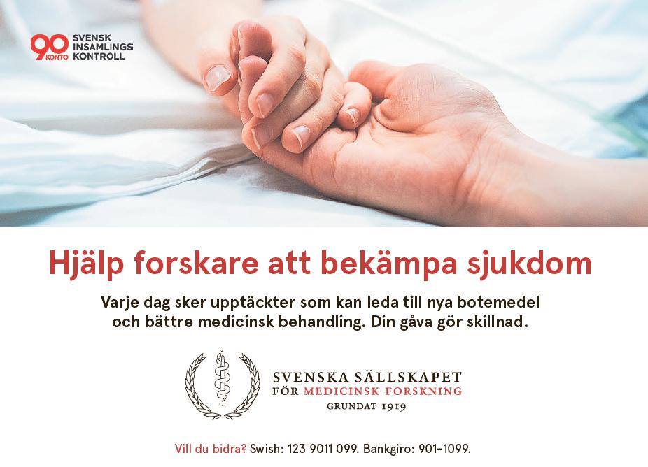 Hjälp medicinska forskare i Sverige att bekämpa sjukdom Bild: Svenska Sällskapet för Medicinsk Forskning, annons i DI