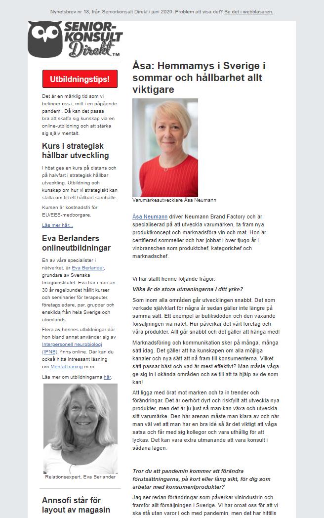 Seniorkonsult Direkt Nyhetsbrev nr 18, 2020, där en av Seniorkonsult Direkts specialister, Åsa Neumann, intervjuas.