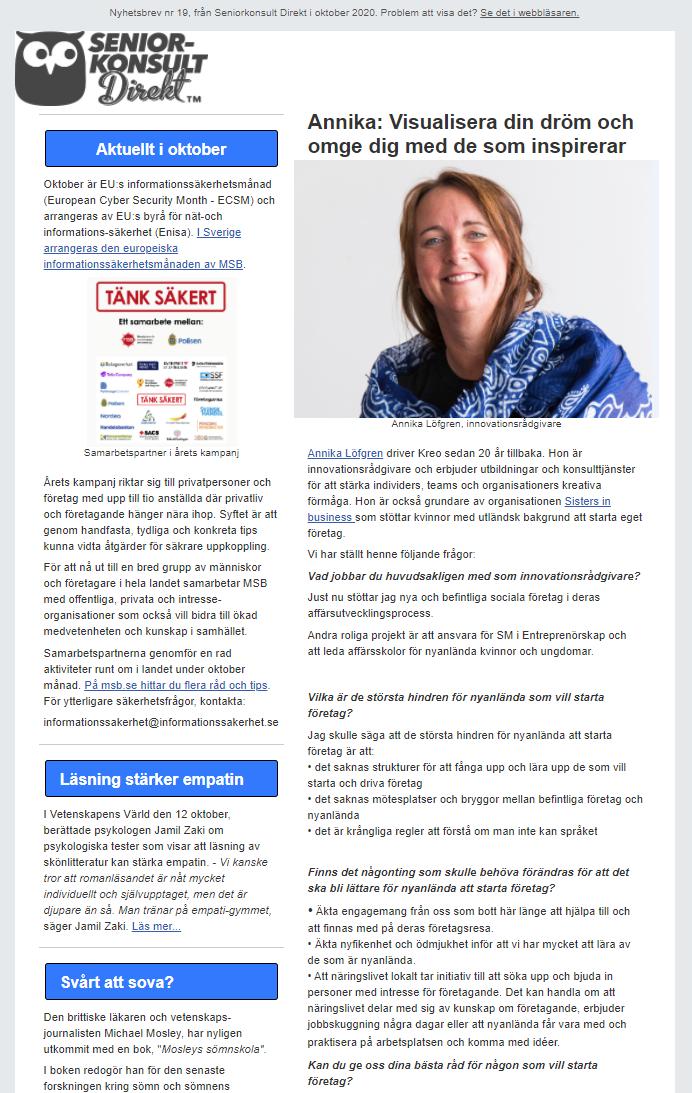 Seniorkonsult Direkt Nyhetsbrev nr 19, 2020, där en av Seniorkonsult Direkts specialister, Annika Löfgren, intervjuas.