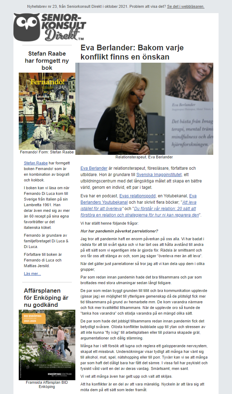 Seniorkonsult Direkt Nyhetsbrev nr 23, 2021, där en av Seniorkonsult Direkts specialister, Eva Berlander, intervjuas